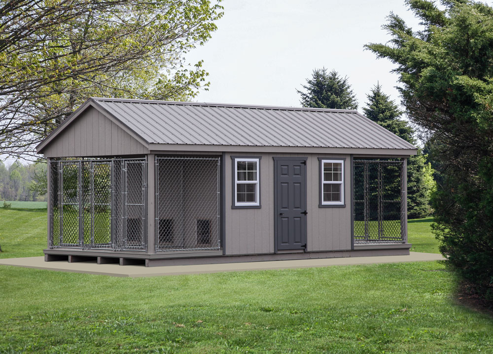 Village Shed Store 12x24 six box dog kennel