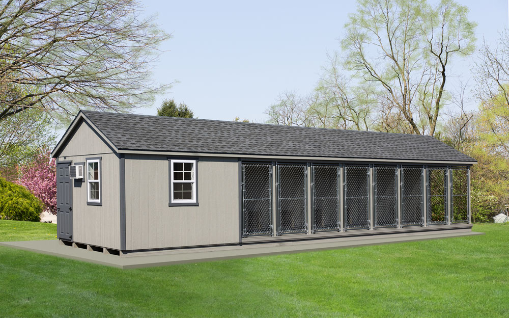 Village Shed Store 12x42 8 box commercial dog kennel