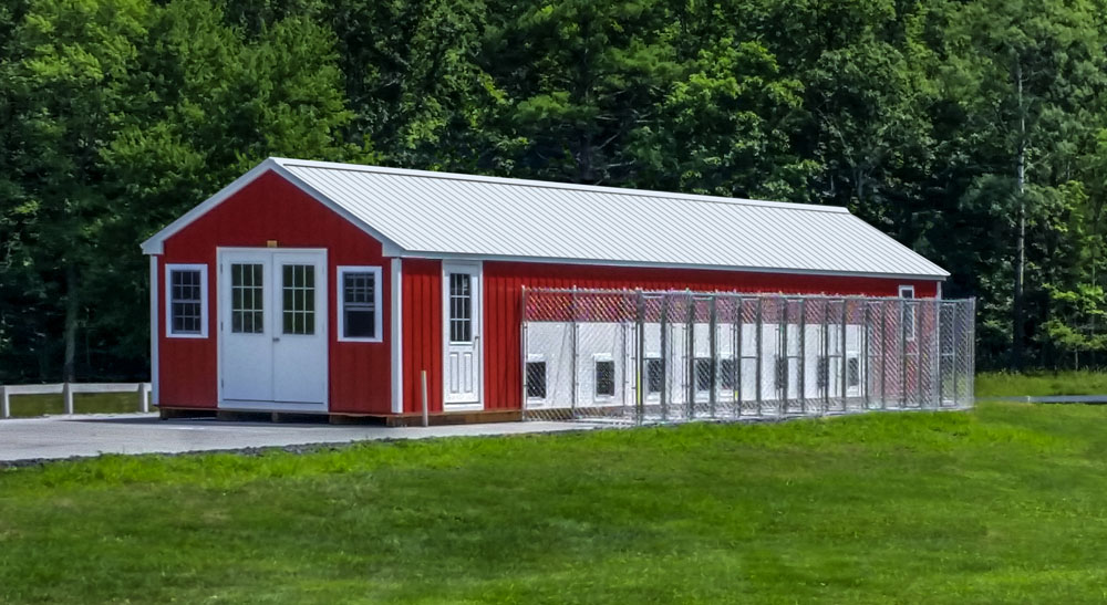Village Shed Store 12x50 eight box commercial dog kennel