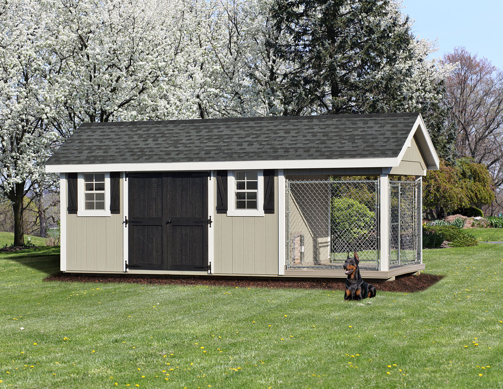 Village Shed Store 8x20 Elite dog kennel with shed combo